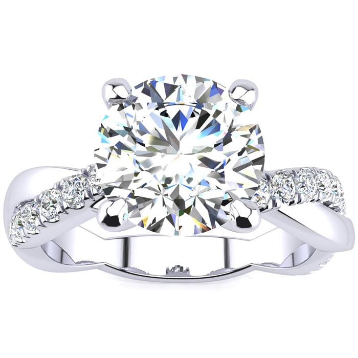 1 3/4 Carat Diamond Engagement Ring in 14K White Gold (4.60 g), 1.5 Carat Center Diamond,  I1-I2, Size 4 by SuperJeweler