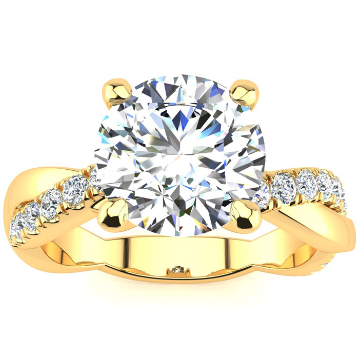 1 3/4 Carat Diamond Engagement Ring in 14K Yellow Gold (4.60 g), 1.5 Carat Center Diamond,  I1-I2, Size 4 by SuperJeweler