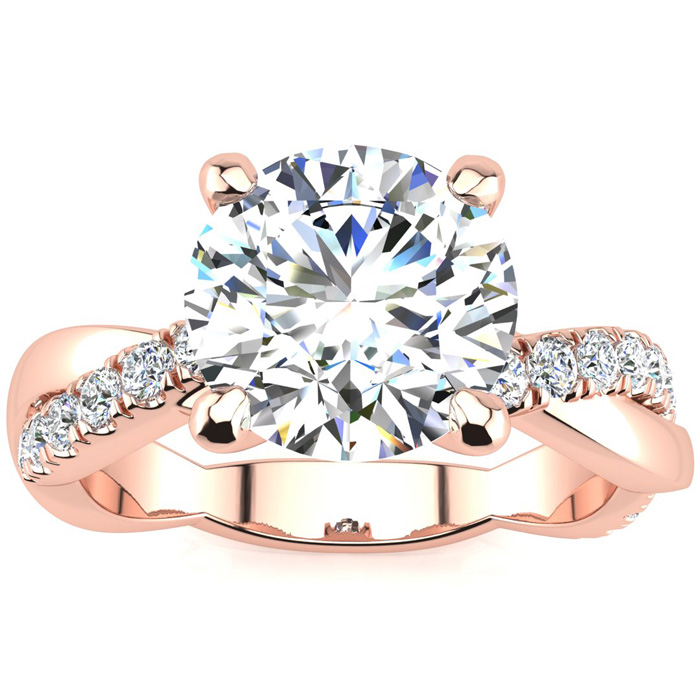 1 3/4 Carat Diamond Engagement Ring in 14K Rose Gold (4.60 g)