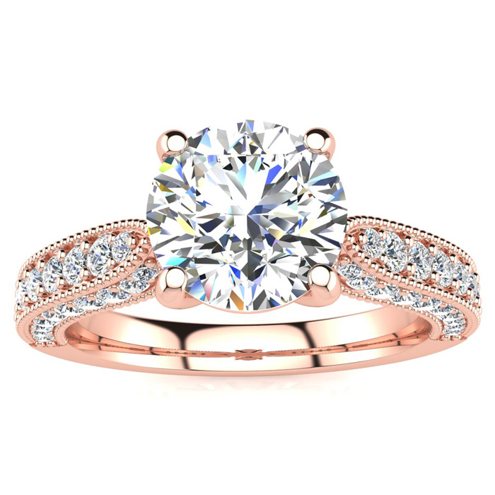 1 3/4 Carat Vintage Diamond Engagement Ring in 14K Rose Gold (5.60 g), 1 1/3 Carat Center Diamond,  I1-I2, Size 4 by SuperJeweler
