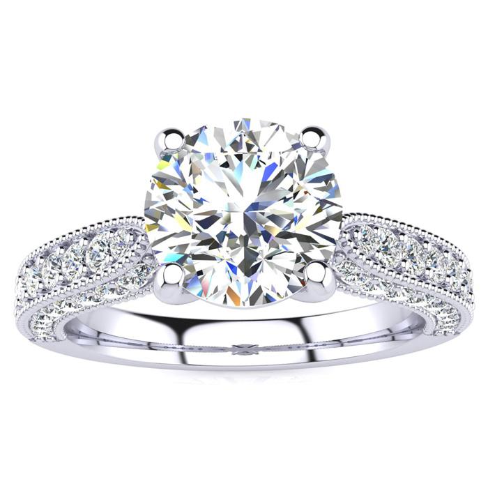 1 3/4 Carat Vintage Diamond Engagement Ring in 14K White Gold (5.60 g)