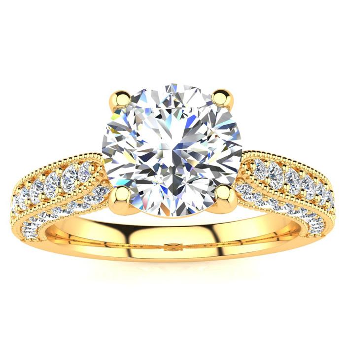 1 3/4 Carat Vintage Diamond Engagement Ring in 14K Yellow Gold (5.60 g)