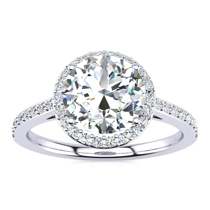2 1/4 Carat Halo Diamond Engagement Ring in 14K White Gold (2.60 g),  I1-I2, Size 4 by SuperJeweler