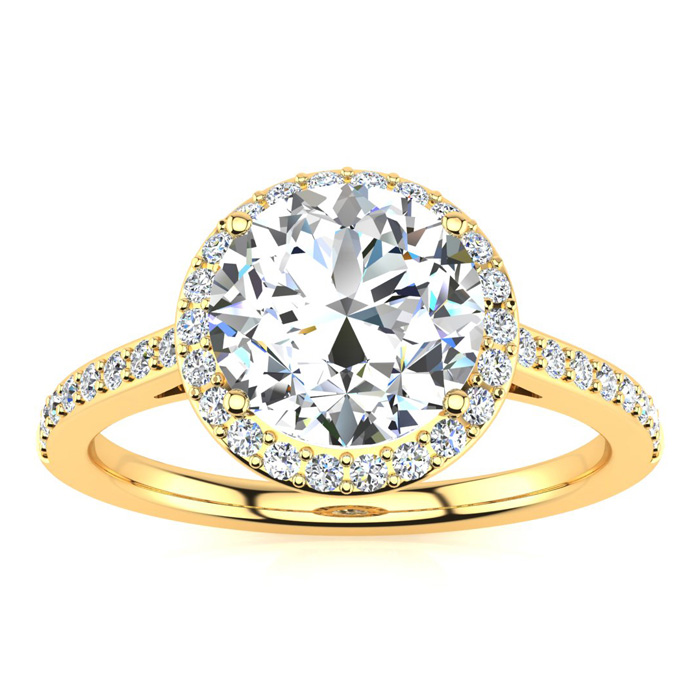 2 1/4 Carat Halo Diamond Engagement Ring in 14K Yellow Gold (2.60 g),  I1-I2, Size 4 by SuperJeweler
