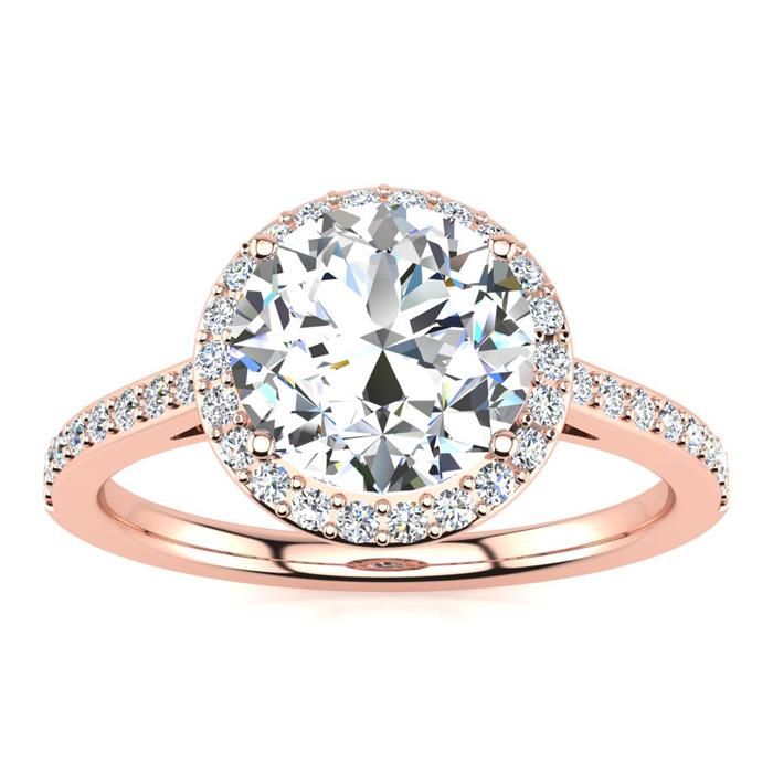 2 1/4 Carat Halo Diamond Engagement Ring in 14K Rose Gold (2.60 g) (