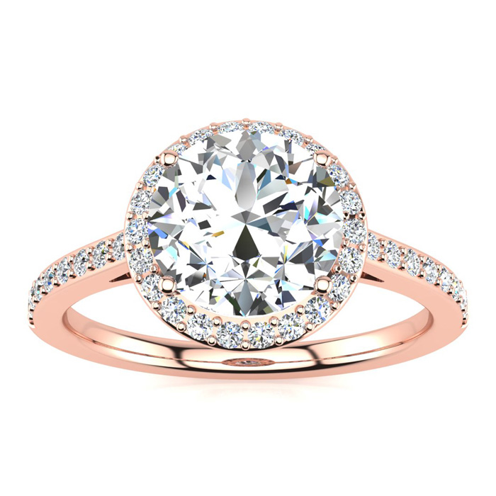 2 1/4 Carat Halo Diamond Engagement Ring in 14K Rose Gold (2.60 g),  I1-I2, Size 4 by SuperJeweler
