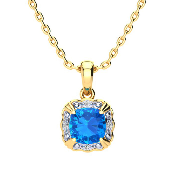 2.5 Carat Cushion Cut Blue Topaz & Diamond Necklace in 10K Yellow Gold (2.50..