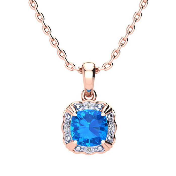 2 1/2ct Cushion Cut Blue Topaz and Diamond Necklace In 10K Rose Gold