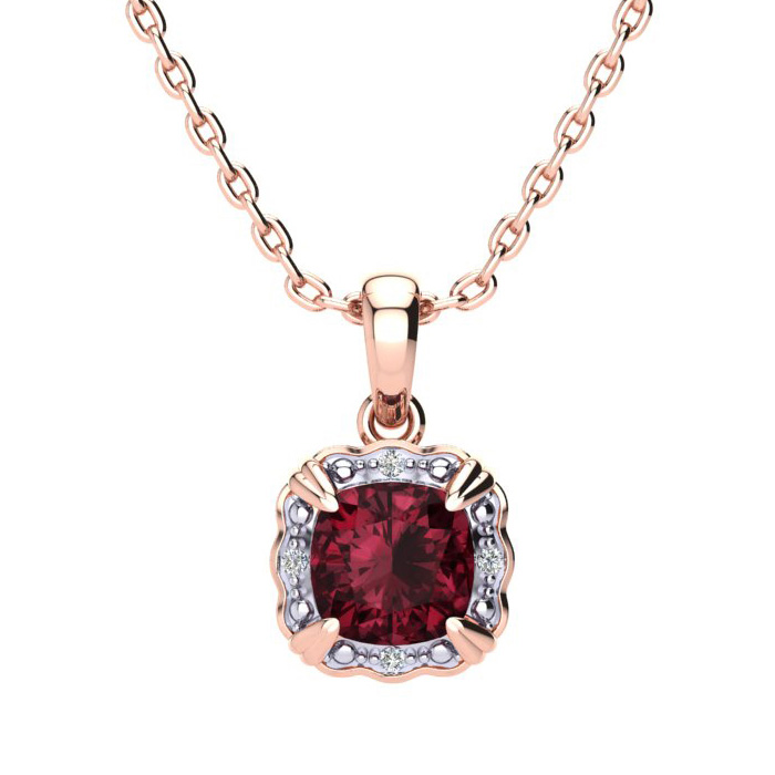 2 1/2ct Cushion Cut Garnet and Diamond Necklace In 10K Rose Gold