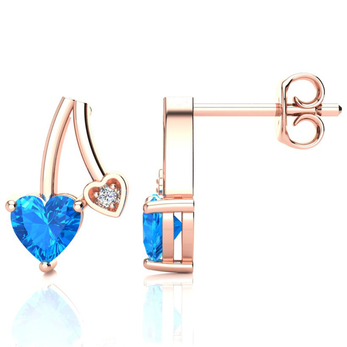 3/4ct Blue Topaz and Diamond Heart Earrings