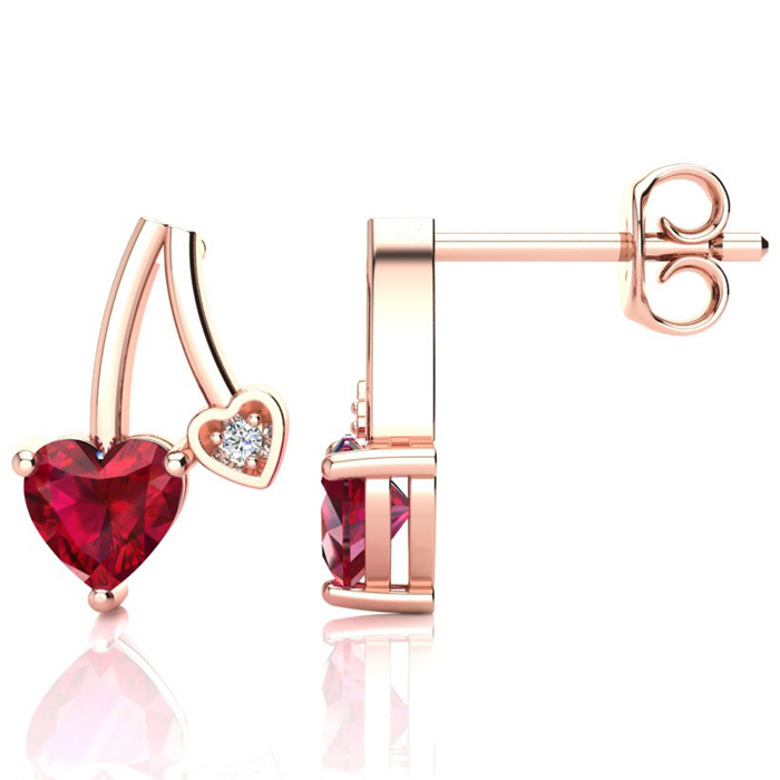 3/4ct Created Ruby and Diamond Heart Earrings