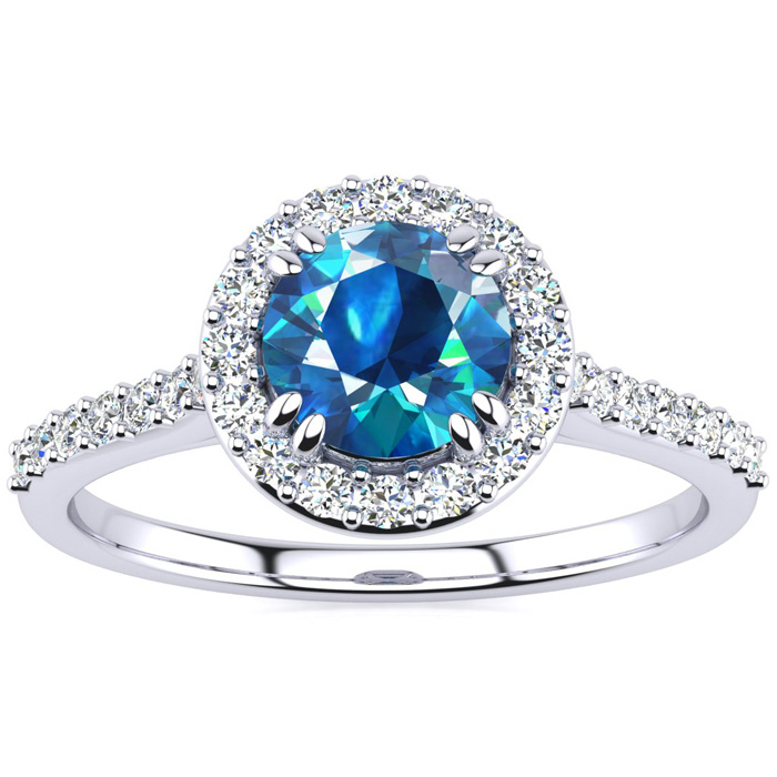 1.25 Carat Perfect Halo Blue Diamond Engagement Ring in 14K White Gold (3.7 g), Size 4 by SuperJeweler