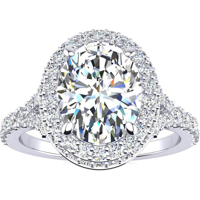 2 Carat Oval Shape Halo Diamond Engagement Ring w/ 1.5 Carat Center Diamond in 14K White Gold (4 g) (