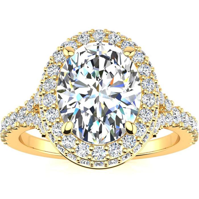 2 Carat Oval Shape Halo Diamond Engagement Ring w/ 1.5 Carat Center Diamond in 14K Gold (4 g) (