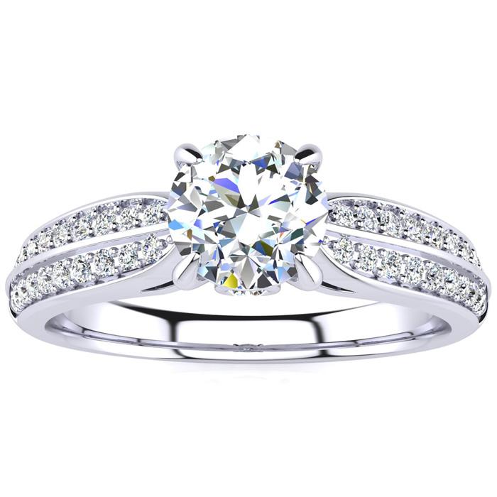 1 Carat Diamond Engagement Ring in 14K White Gold (3.70 g), 3/4 Carat Center Diamond,  I1-I2, Size 4 by SuperJeweler