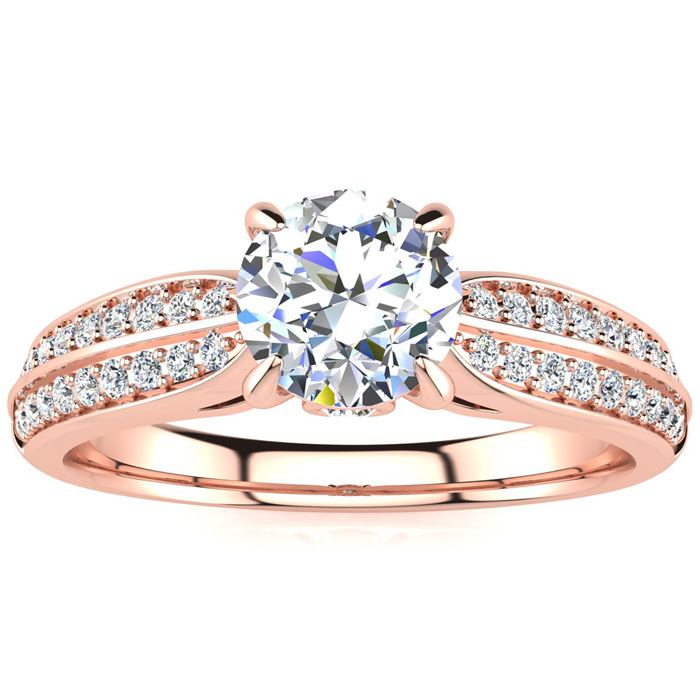 1 Carat Diamond Engagement Ring in 14K Rose Gold (3.70 g), 3/4 Carat Center Diamond,  I1-I2, Size 4 by SuperJeweler