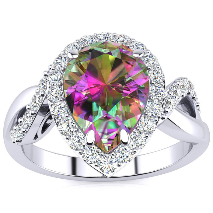 2 1/2ct Pear Shape Mystic Topaz and Diamond Ring in 14K White Gold