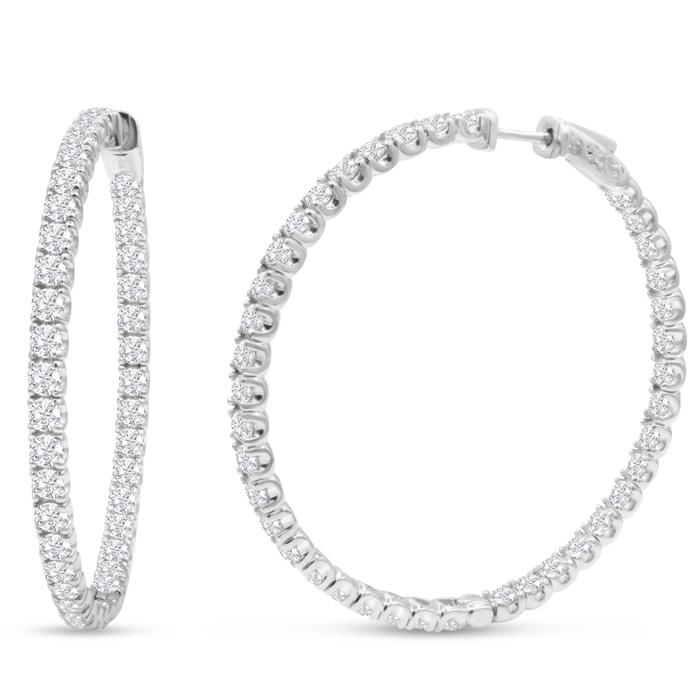 14K White Gold (17 g) 8 Carat Diamond Inside Out Hoop Earrings
