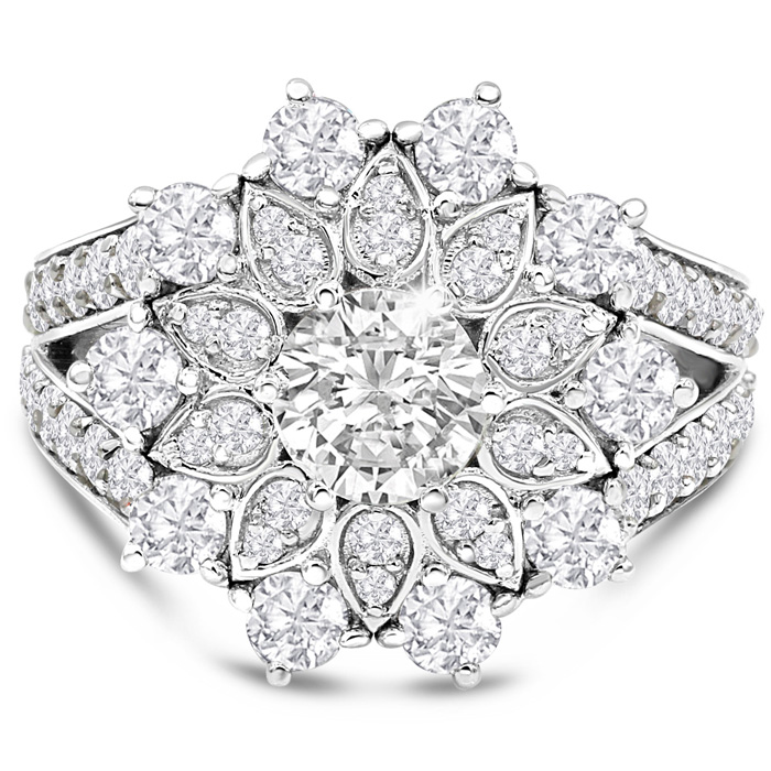 14K White Gold (7.40 g) 3 Carat Diamond Flower Ring
