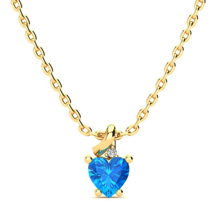 1/2 Carat Blue Topaz & Diamond Heart Necklace in 10k Yellow Gold (2 g), I/J,..