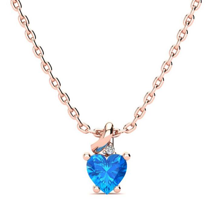 1/2 Carat Blue Topaz & Diamond Heart Necklace in 10k Rose Gold (2 g), I/J, 1..