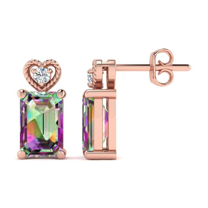 1 Carat Octagon Shape Mystic Topaz & Diamond Earrings in Rose Gold (2 g),  b..