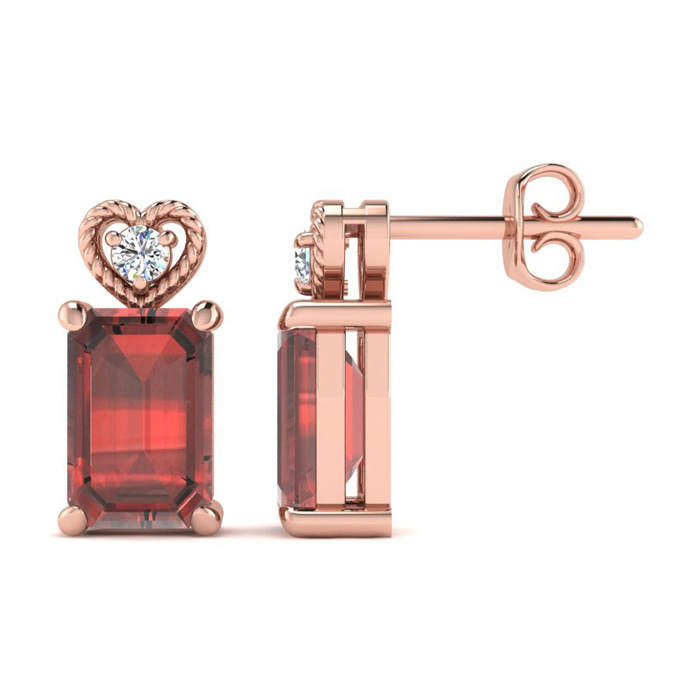 1 Carat Octagon Shape Garnet & Diamond Earrings in Rose Gold (2 g),  by Supe..