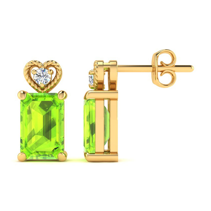 1 Carat Octagon Shape Peridot & Diamond Earrings in Yellow Gold (2 g),  by S..