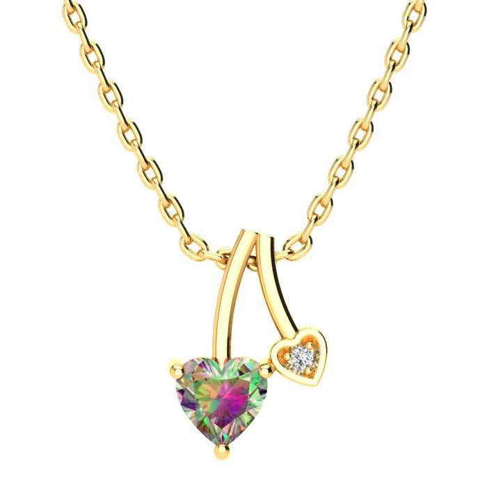 1/2ct Heart Shaped Mystic Topaz and Diamond