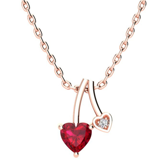 1/2ct Heart Shaped Created Ruby and Diamond Necklace in 10k Rose Gold