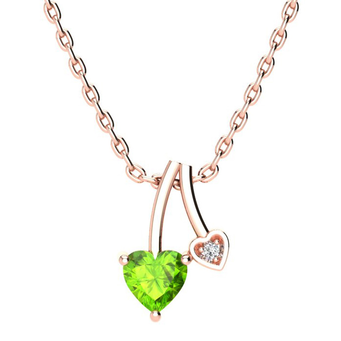 1/2ct Heart Shaped Peridot and Diamond Necklace in 10k Rose Gold