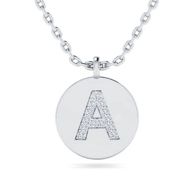 A Initial Necklace In 14K White Gold