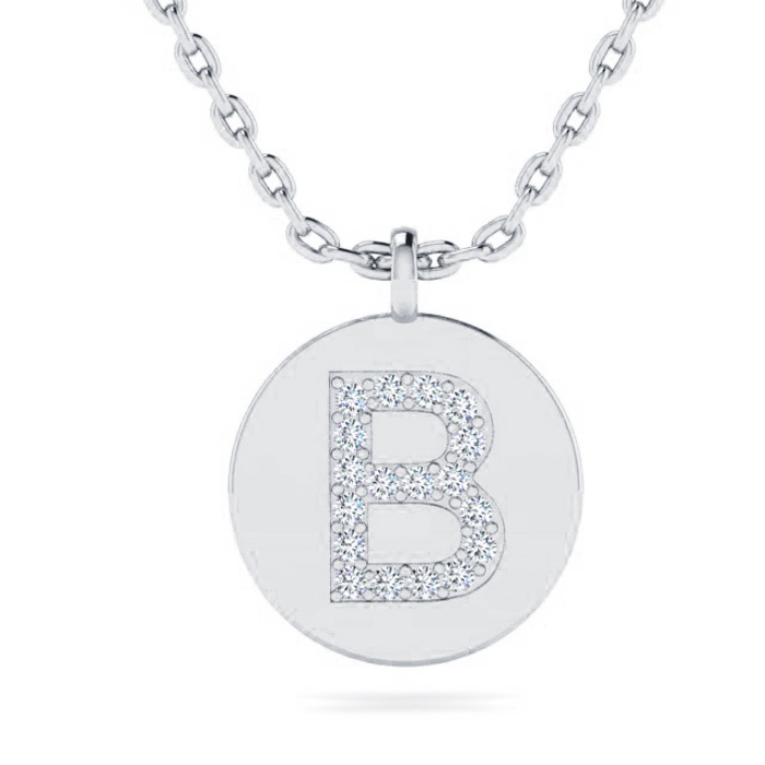 B Initial Necklace In 14K White Gold