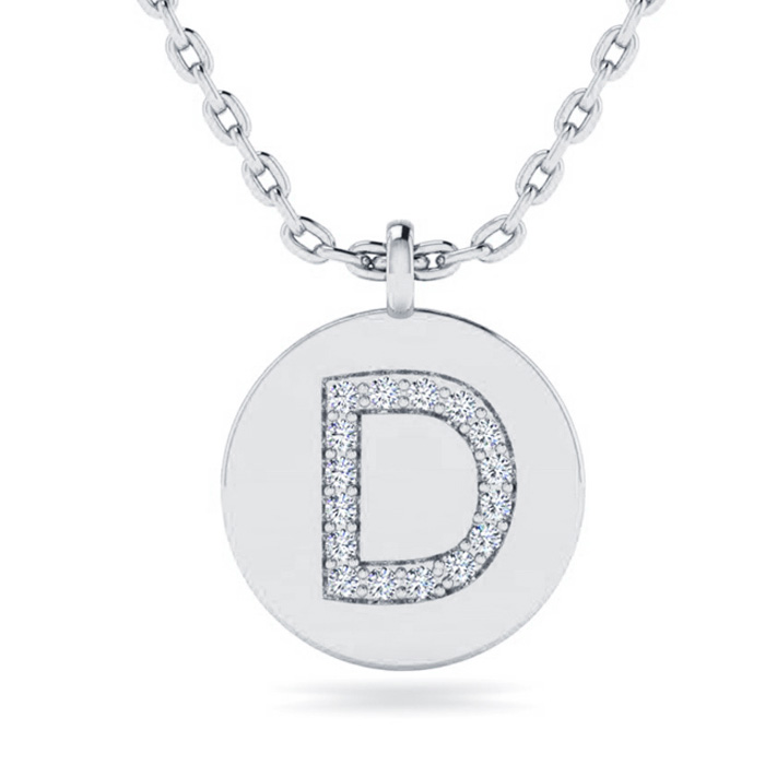 D Initial Necklace In 14K White Gold