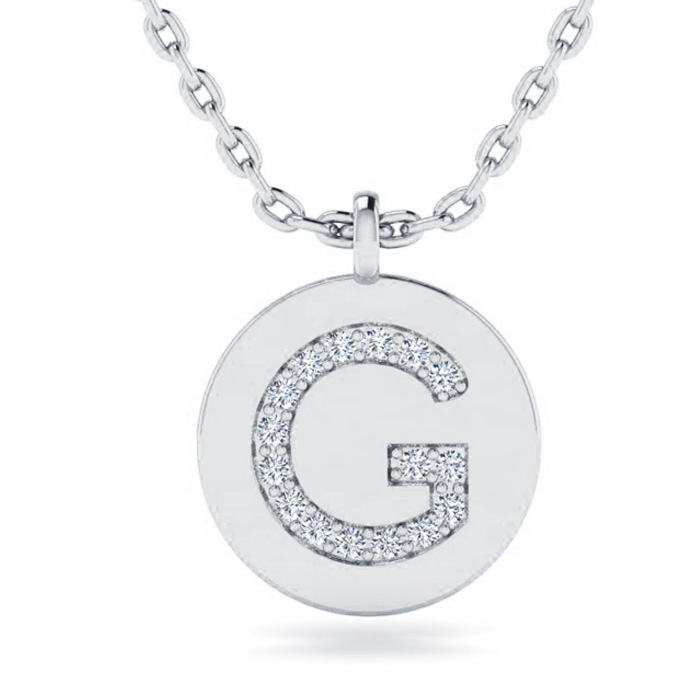 G Initial Necklace In 14K White Gold
