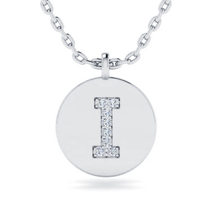 I Initial Necklace In 14K White Gold
