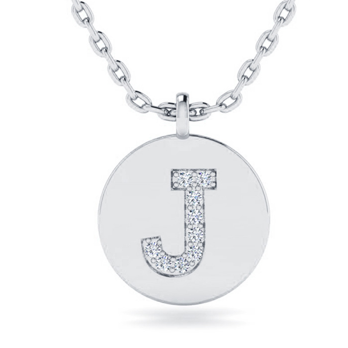 J Initial Necklace In 14K White Gold
