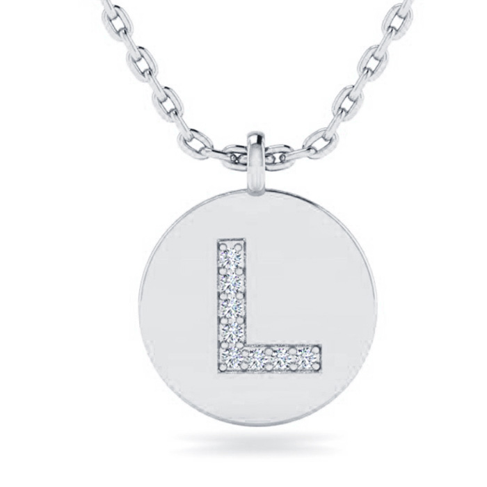 L Initial Necklace In 14K White Gold