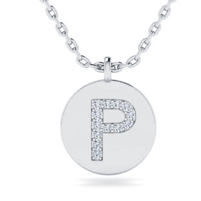 P Initial Necklace In 14K White Gold