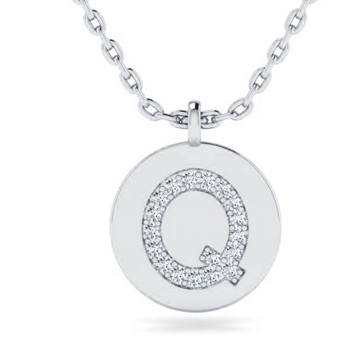 Q Initial Necklace In 14K White Gold