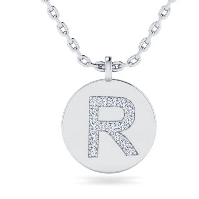 R Initial Necklace In 14K White Gold