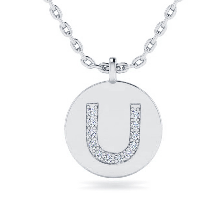 U Initial Necklace In 14K White Gold
