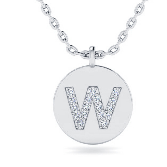 W Initial Necklace In 14K White Gold