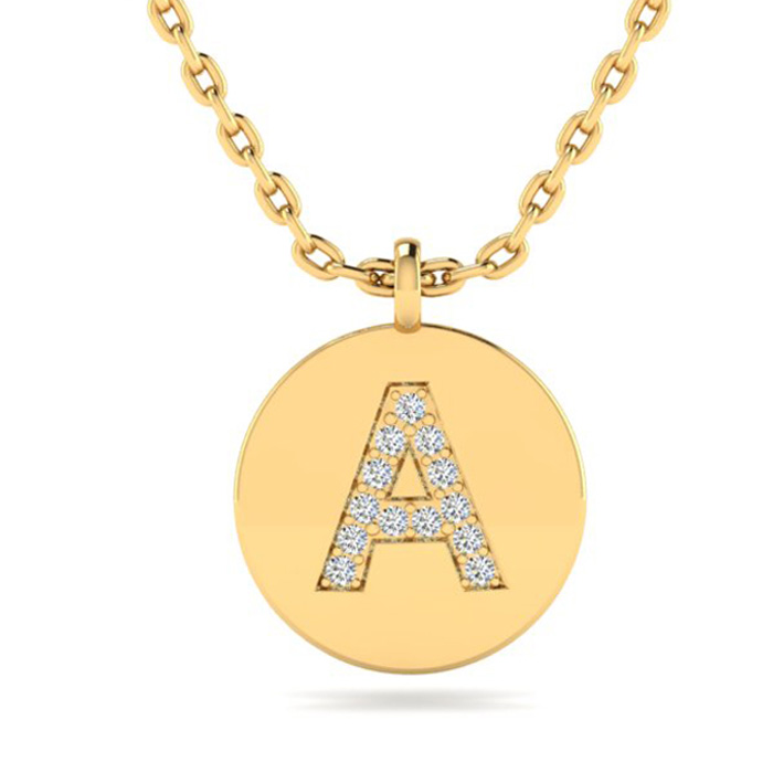A Initial Necklace In 14K Yellow Gold