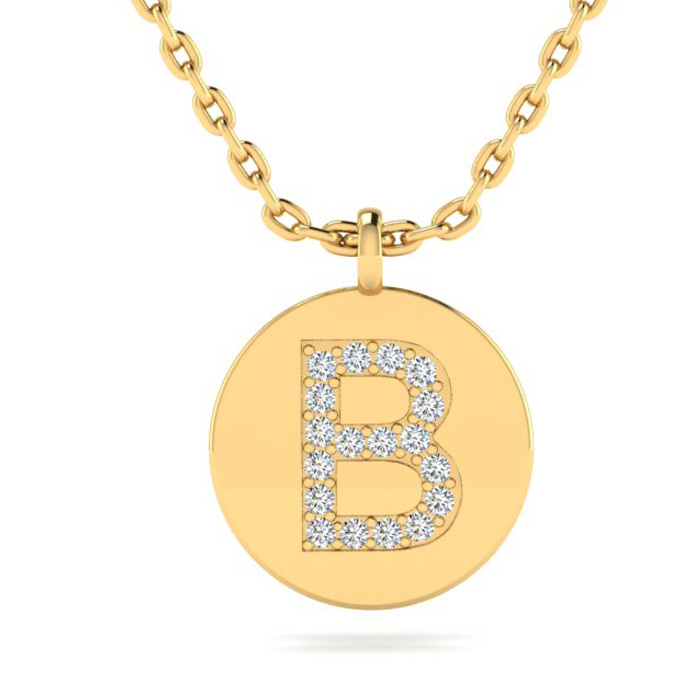 B Initial Necklace In 14K Yellow Gold