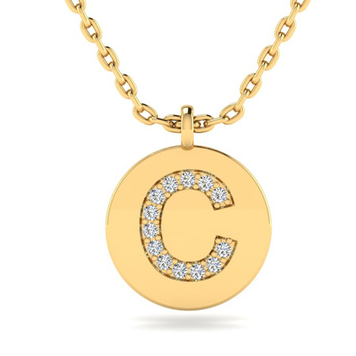 C Initial Necklace In 14K Yellow Gold
