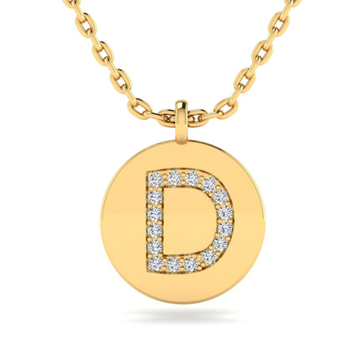 D Initial Necklace In 14K Yellow Gold