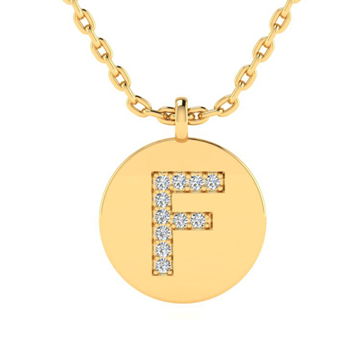 F Initial Necklace In 14K Yellow Gold
