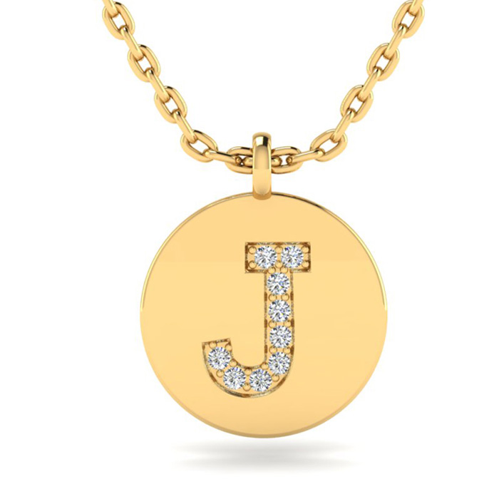 J Initial Necklace In 14K Yellow Gold