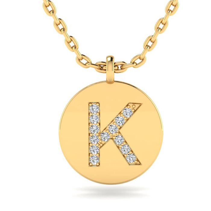 K Initial Necklace In 14K Yellow Gold